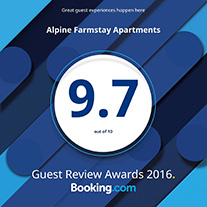 2016 award winning Alpine Farmstay Apartments